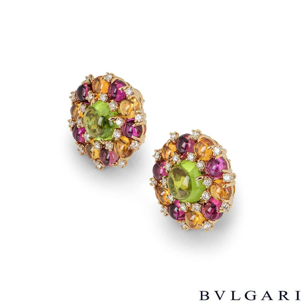Bvlgari Rose Gold Diamond and Multi-Gemstone Earrings